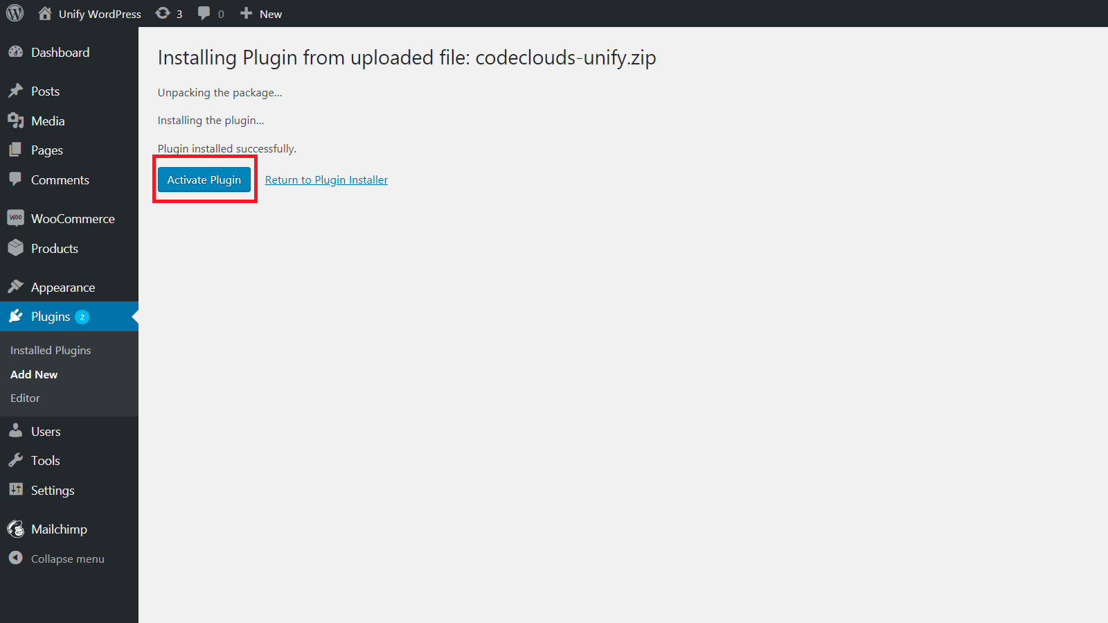 Unify wordpress plugin activation step