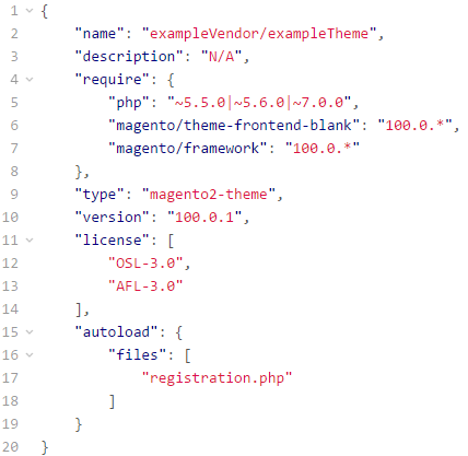 Magento 2 composer.json file