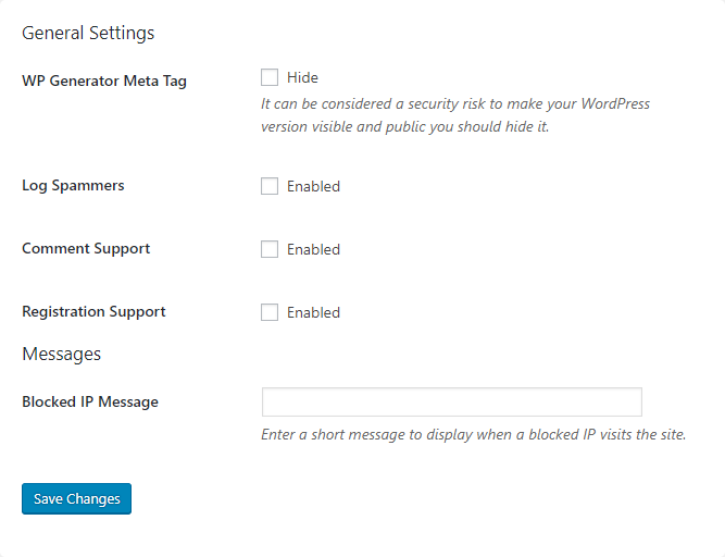 WordPress Zero Spam Settings
