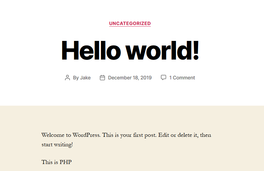 Hello World WordPress Post