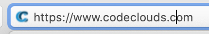 caption: the CodeClouds URL with our favicon